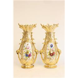 Pair 19th c. Old Paris porcelain flair vases