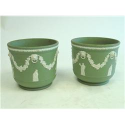 Pair green Jasperware Wedgwood planters