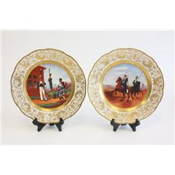 Pair Imperial factory military decorated plates