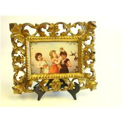 "KPM plaque of ""3 Kids"" in gilded frame"