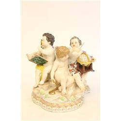 "19th c Meissen grouping of ""Three Puttis"""