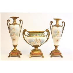 19th c. 3 piece Sevres garniture set