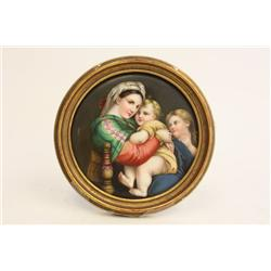 "19th c. porcelain plaque ""Madonna & Child"""