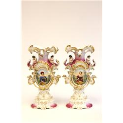 Pair early-mid 19th c. portrait flair vases