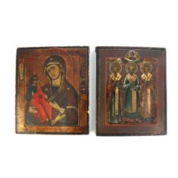 2 handpainted wooden icon plaques