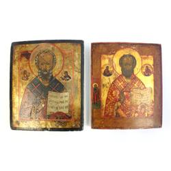 2 hand painted wooden icon plaques