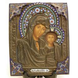 19th c. metal & enamel Russian Icon