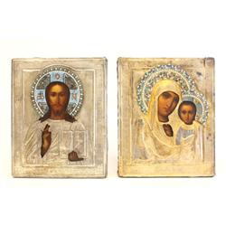 Pair 19th c. Russian Wedding Icons