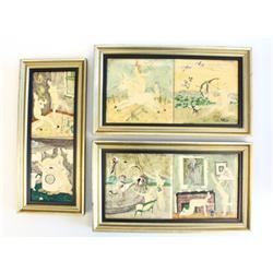 6 Abstract erotic tiles signed Paulus Von John