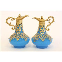 2 Opaline glass & bronze ewers