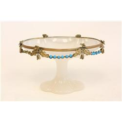 Small oval opaline & bronze bowl on pedestal