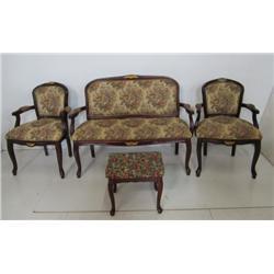 French style love seat & 2 chairs with footstool