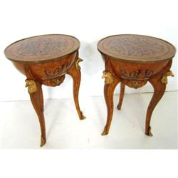 Pair French style inlaid bronze mounted tables