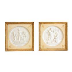 Pair antique Neoclassical Parian plaques