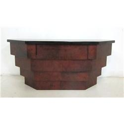 Hanging lacquered goatskin wall console