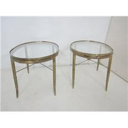 Pair glass top end tables