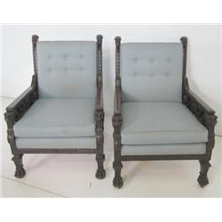Pair 19th c. Karpen? carved figural chairs