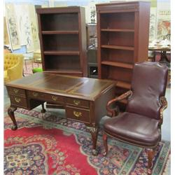 Mahogany desk, leather chair, pair bookcases