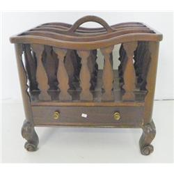 Mahogany canterbury with carved cabriole feet