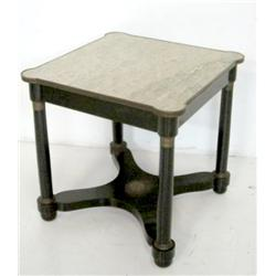 Ebonized, empire marble top table