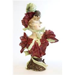 "Majolica porcelain bust of ""Woman"""