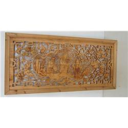 Carved Chinese figural window screen in wood