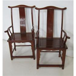 Pair Chinese high back chairs