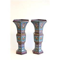 Pair 19th c. 6 paneled cloisonne vases