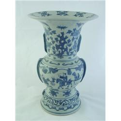 Blue & white vase depicting  Men on Horse