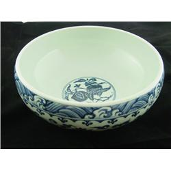 Blue & white brush washer with floral design