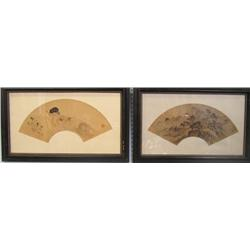 2 framed fan paintings