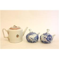 Pair Chinese teapots & Rose Famille teapot
