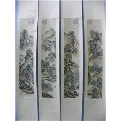 "4 Chinese scrolls ""Landscapes"" artist signed"