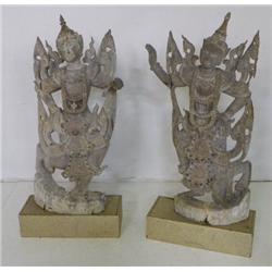"Pair carved wooden ""Temple Figures"""