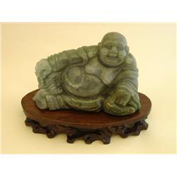 """Carved natural jade """"Reclining Buddha"""""""