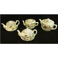 Lot of 4 porcelain Chinese teapots signed