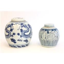 Lot of 2 blue & white Chinese covered jars