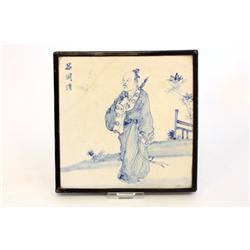 "Blue & white porcelain tile of ""Man"" artist signed"