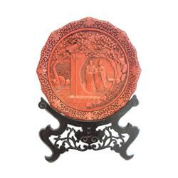Chinese red lacquer on bronze scenic plate