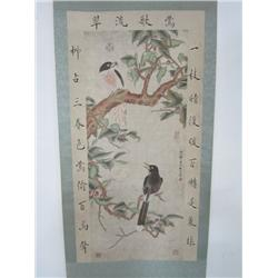 """Chinese scroll """"Birds in a Tree"""" signed Lin Liang"""