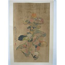 """Chinese scroll of """"Flowers"""""""
