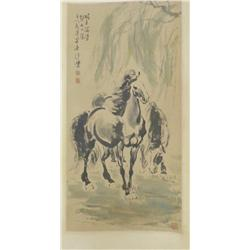 """Chinese scroll artist signed """"Bei Hong"""" """"2 Horses"""""""