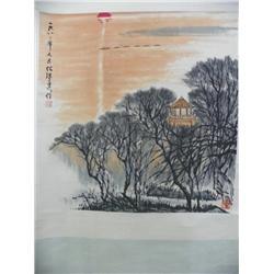 "Chinese scroll artist signed ""He Hai Xia"""
