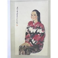 """Chinese scroll """"Young Woman"""" artist signed Zeng"""