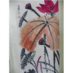 "Chinese scroll ""Lotus"" signed Bai Shi"