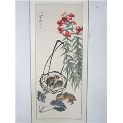 """Chinese scroll of """"Rabbits & Flowers"""""""