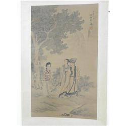 """Chinese scroll of """"Man with 2 Women Under a Tree"""""""