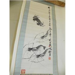 """Chinese scroll of """"Crab & Shrimp"""""""