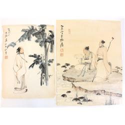 "2 soft paper drawings of ""Wisemen"""