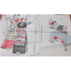 """2 soft paper drawings of """"Dancers"""" artist signed"""